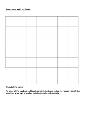Factors rainbow puzzle by MisterMConnolly | Teaching Resources