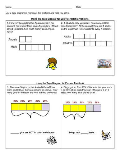 Grade 6 Tape Diagrams For Percent Problems Teaching Resources