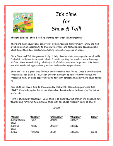 Fall & Winter Show & Tell Parent Letters