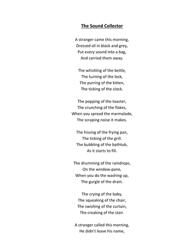 Poem - The Sound Collector