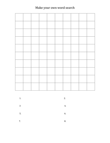 Make Your Own Word Search - Free Printable ...