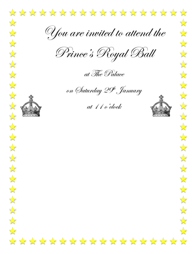 Cinderella royal ball invitation by graceteach teaching for Cinderella invitation to the ball template
