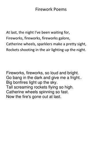 Fireworks poems by crunchynut17 uk teaching resources tes for Firework shape poems template