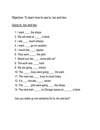Homophones Quot To Too And Two Quot Worksheet By Hroberts999