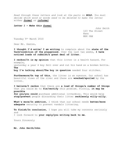 WJEC Paper 1 Amp 2 Lesson On Informal And Formal Letter