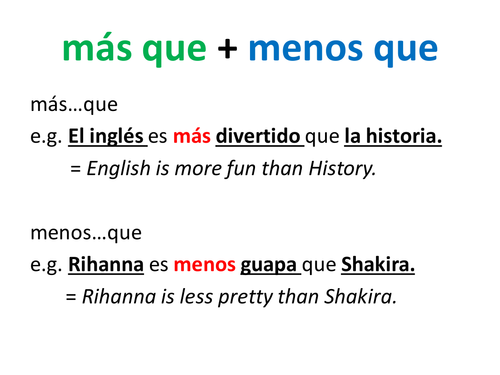 Spanish Comparisons by Dannielle89 | Teaching Resources