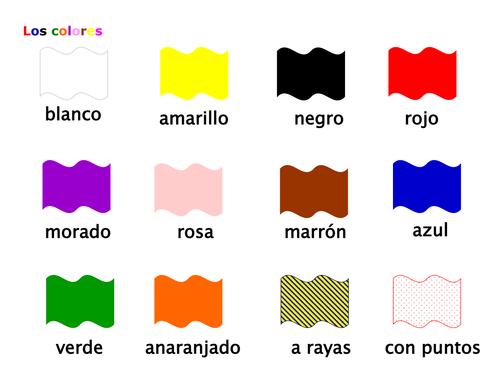 los colores en espa ol color words in spanish by ptrtownend teaching resources tes. Black Bedroom Furniture Sets. Home Design Ideas