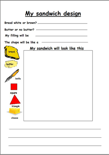 Design and make a sandwich by lbrowne teaching resources for Sandwich template for writing