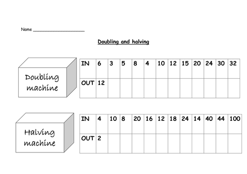 Doubling and halving by Nickybo Teaching Resources TES – Function Machine Worksheet