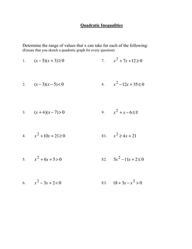 GCSE Maths: Worksheet on Quadratic Inequalities by phildb - Teaching ...