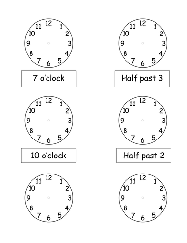 O'clock and Half past times by pickup01 - Teaching Resources - TES