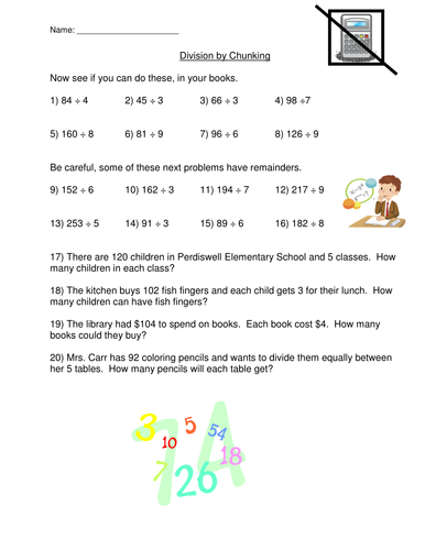 Division Chunking Method Worksheet