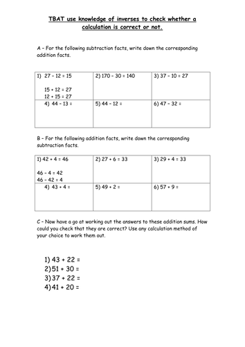 Checking Work Addition Worksheet : Inverse addition and subtraction to check answers by