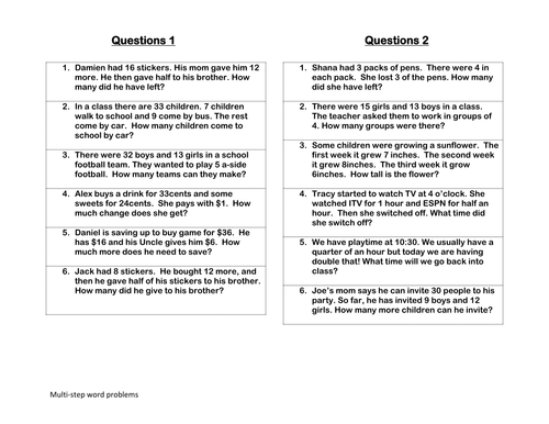 Worksheets Multi Step Word Problems 5th Grade multi step word problems by claire tunnicliffe teaching resources tes