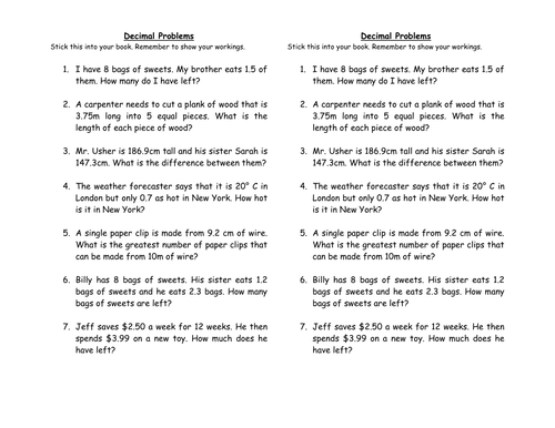 Decimal Word Problems by clairetunnicliffe Teaching Resources TES – Decimal Problems Worksheet