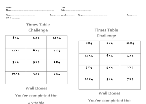 Number Names Worksheets 4 times table test : 4 x Table Test Sheets for Times Table Olympics by Miss_N ...