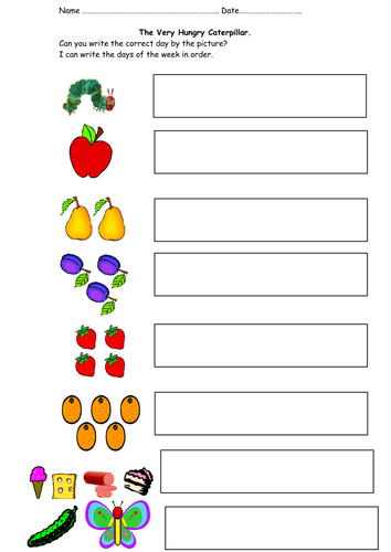 The Very Hungry Caterpillar- Days of the week | Teaching Resources