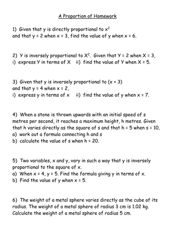 Direct and Inverse Proportion Worksheets by mrbuckton4maths ...