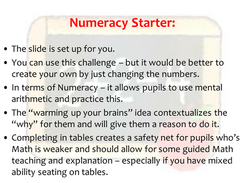 how to plan and teach numeracy across the currciulum