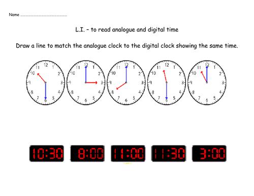 Matching analogue and digital clocks by Nickybo - Teaching ...