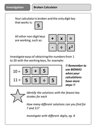 Broken Calculator Investigation by newmrsc | Teaching Resources