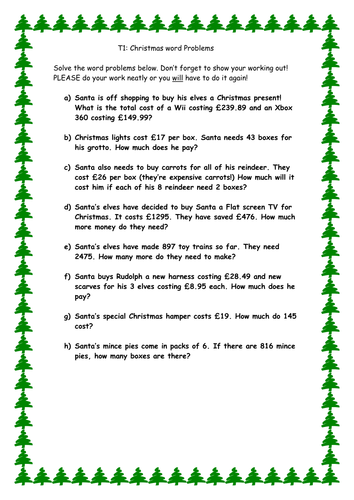 Christmas word problems by cleggy1611  Teaching Resources  Tes