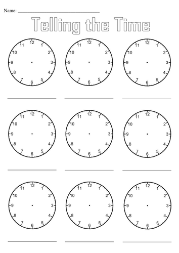 Blank Matching Worksheets : Blank clocks for telling the time by simon h teaching