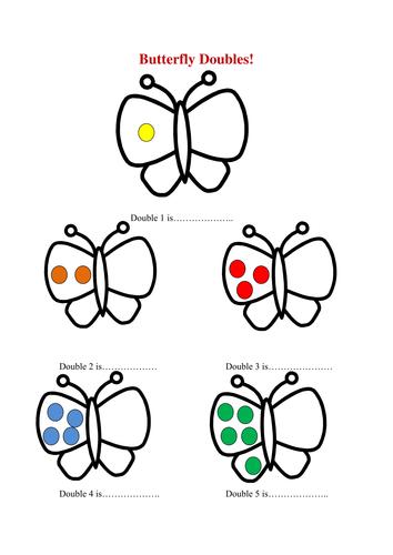 Butterfly doubles/ doubling worksheet by missbrooker