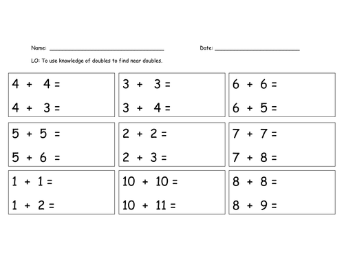 Near Doubles by sarahdawnrees Teaching Resources TES – Math Doubles Worksheets