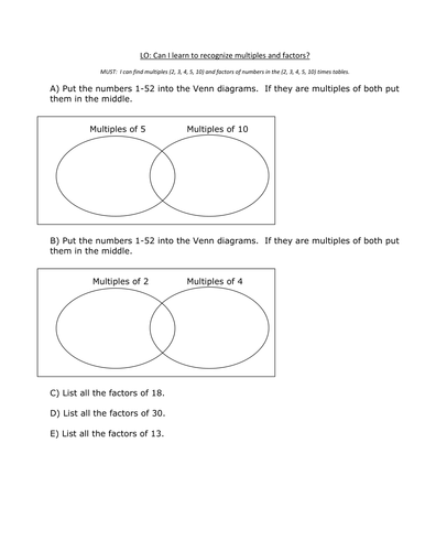 Factors and multiples by chughes1155 teaching resources tes ccuart Images