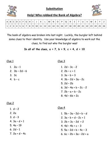 substitution bank of algebra code breaker by monkeyfig teaching resources tes. Black Bedroom Furniture Sets. Home Design Ideas