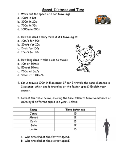 Time distance speed calculations by sbinning - Teaching Resources ...