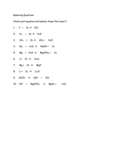 Balancing equations homework help