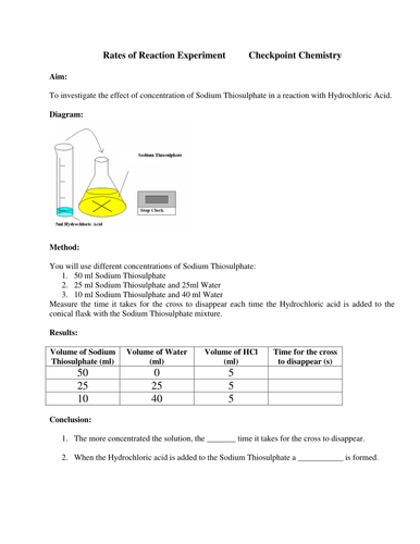 rates of reaction experiments essay The way i could find out the rate of reaction was by doing experiments that the rate of the reaction affect my experiment, so i did it on lined paper.