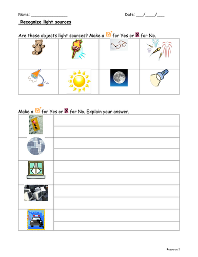 Recognising light sources by f8f1 - Teaching Resources - TES
