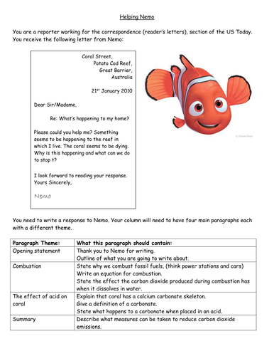 Ocean Acidification - Letter of Help from Nemo