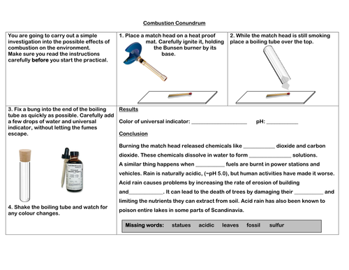 Combustion Conundrum - Acid Rain Practical