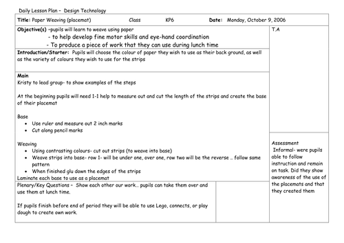 world language lesson plan template - design technology lesson plan weaving by kpetroni
