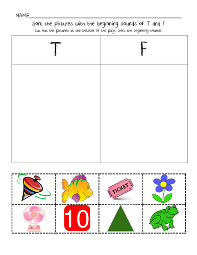 Beginning Sound Sort for letters T & F