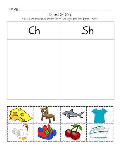 Ch and Sh Picture Sort