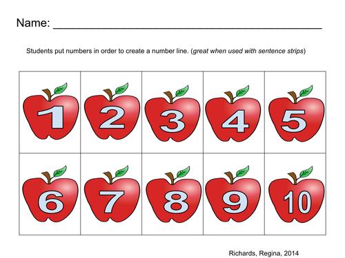 Number Line 1-10 Apples
