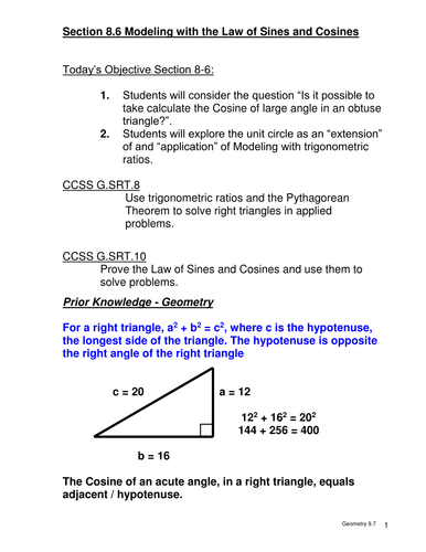 Cosine of an Obtuse angle and other modeling by jag0540