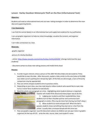 Informational Text Lesson Plan
