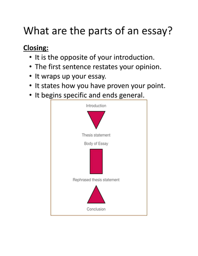 Parts Of An Essay By Yoyoung  Teaching Resources  Tes