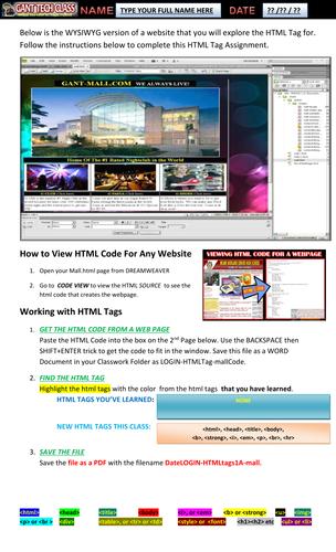 Web Design (Identify HTML Tags)