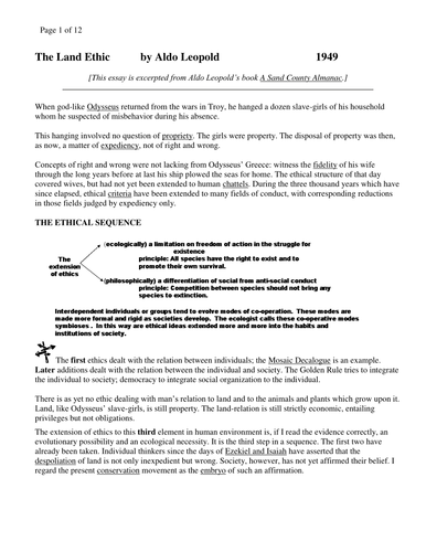 Ethic of land management: Aldo Leopold