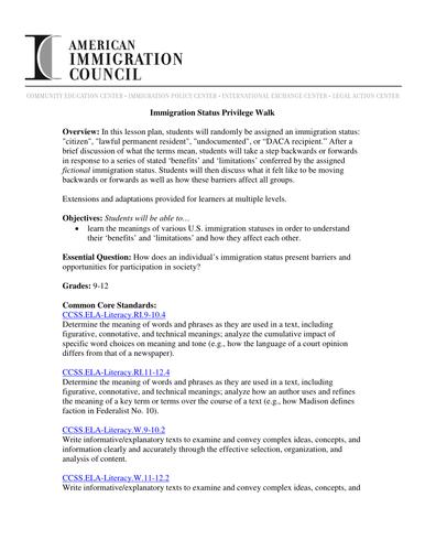 Immigration Status Privilege Walk Teaching Resources
