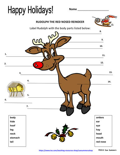 christmas reindeer label rudolph with animal body parts by suesummersshop teaching resources tes. Black Bedroom Furniture Sets. Home Design Ideas