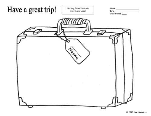 clothing travel suitcase sketch and label by suesummersshop   teaching  resources