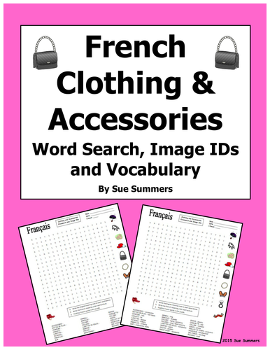 French Clothing And Accessories Crossword Puzzle And Images By Suesummersshop Teaching